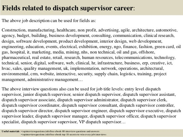 ... 17. Fields Related To Dispatch Supervisor ...