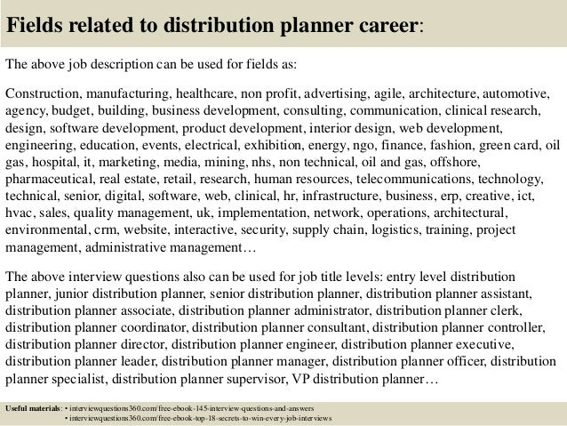 Top 10 distribution planner interview questions and answers – Material Planner Job Description