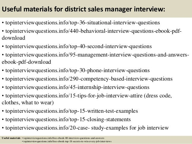 Top 10 district sales manager interview questions and answers
