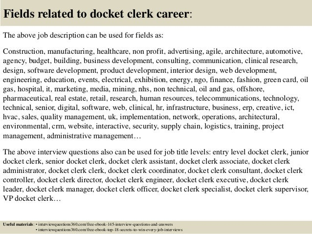 ... 18. Fields Related To Docket Clerk ...