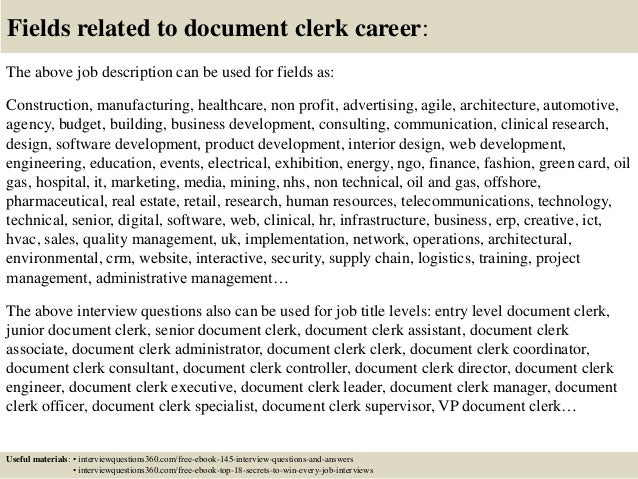 Top  Document Clerk Interview Questions And Answers - Document clerk cover letter