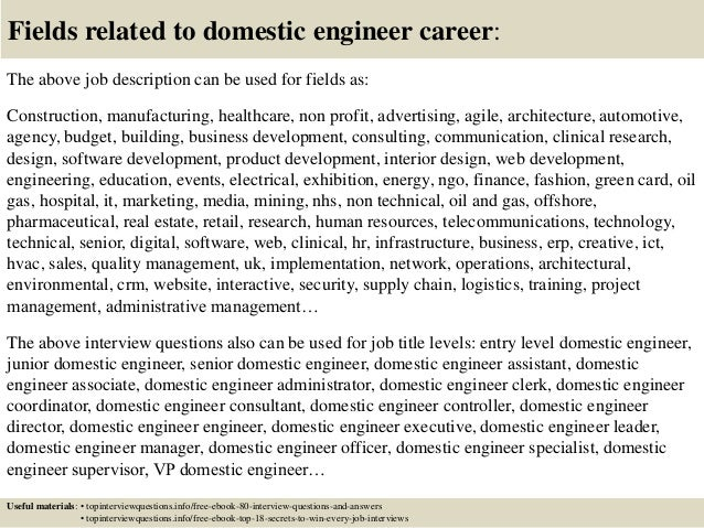 Awesome ... 17. Fields Related To Domestic Engineer ... Ideas Domestic Engineer Resume