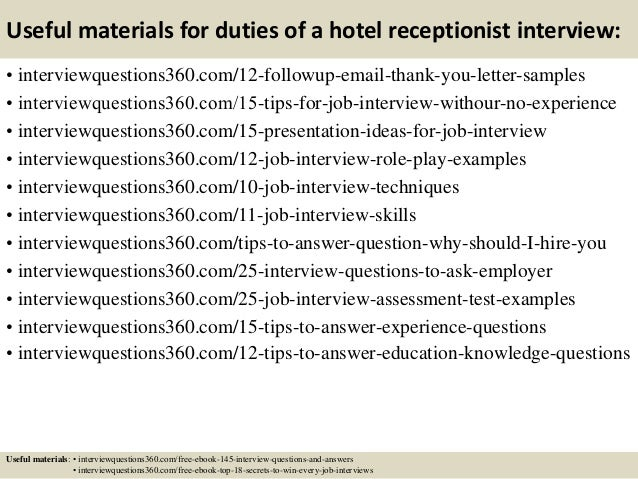 top 10 duties of a hotel receptionist interview questions