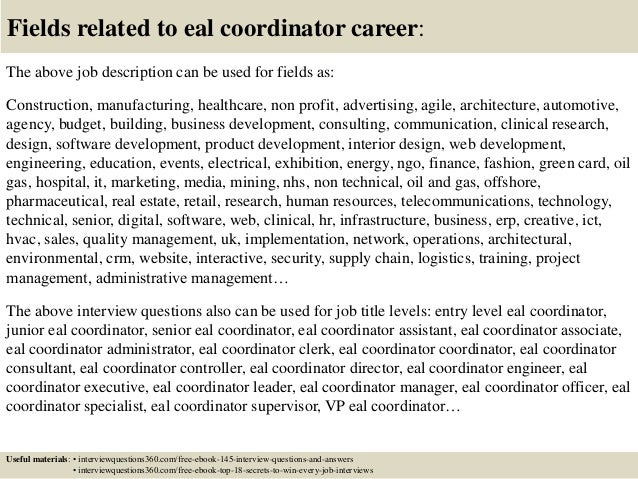 Top 10 eal coordinator interview questions and answers
