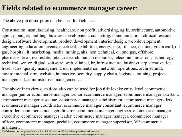 Top 10 ecommerce manager interview questions and answers