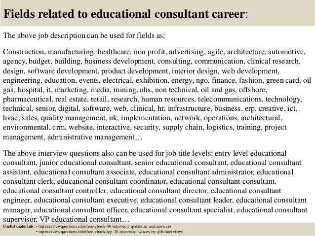 education consultant job description