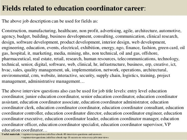 top 10 education coordinator interview questions and answers