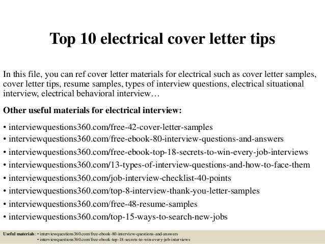 Top 10 Electrical Cover Letter Tips In This File You Can Ref Materials