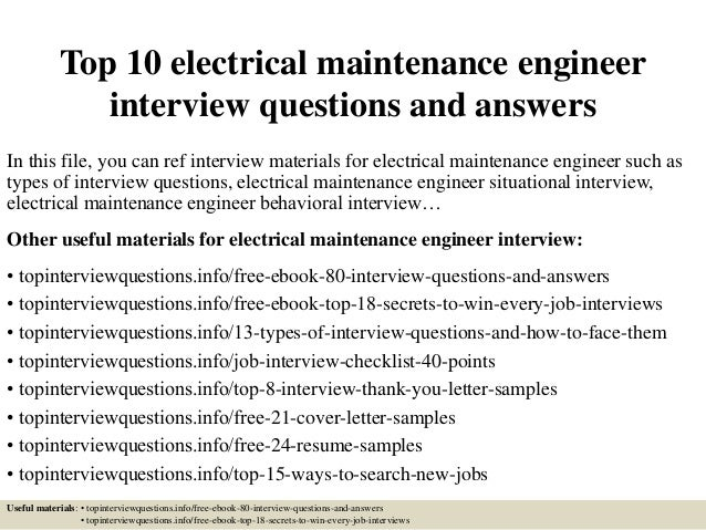 Top 10 Electrical Maintenance Engineer Interview Questions And Answers In  This File, ...