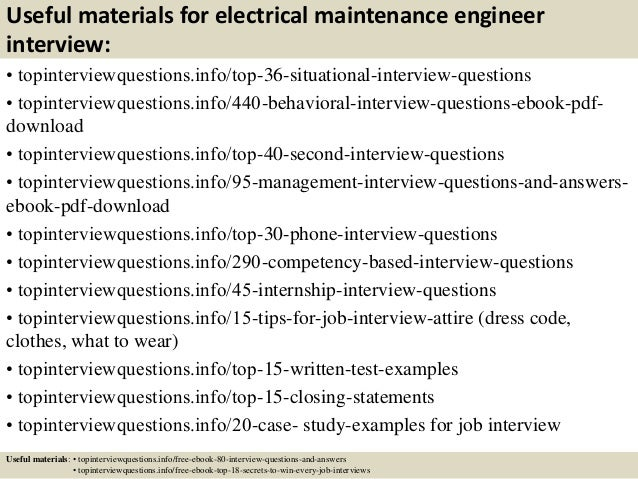 Top 10 electrical maintenance engineer interview questions