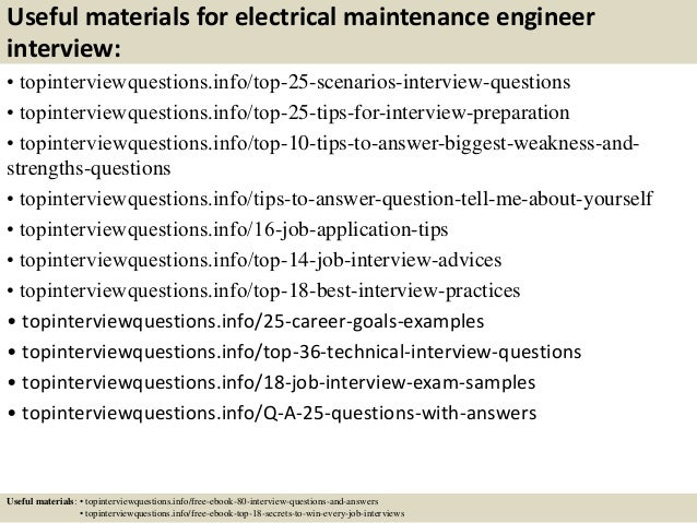 Useful Materials For Electrical Maintenance Engineer Interview O Topinterviewquestions Top 25 Scenarios Questions