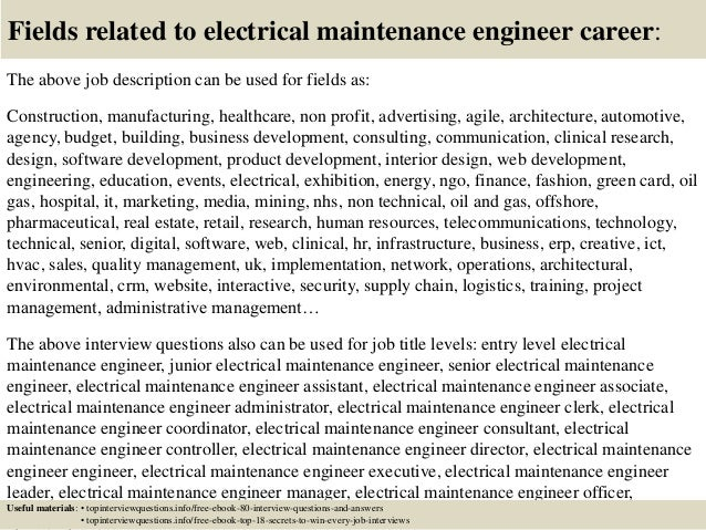 Top  Electrical Maintenance Engineer Interview Questions And Answers