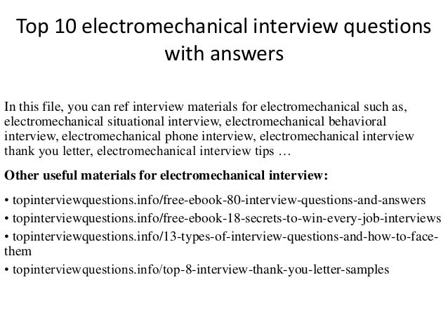 electro mechanical technician resume samples