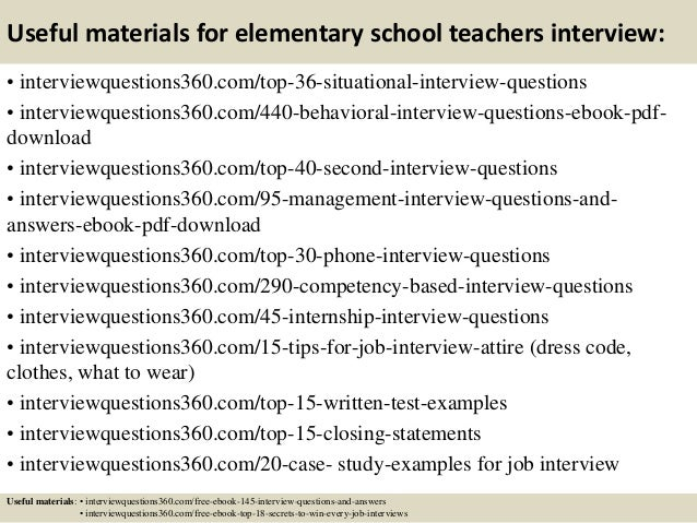 Top 10 elementary school teachers interview questions and answers