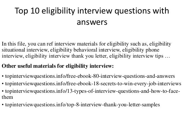 Top 10 Eligibility Interview Questions With Answers In This File, You Can  Ref Interview Materials ...
