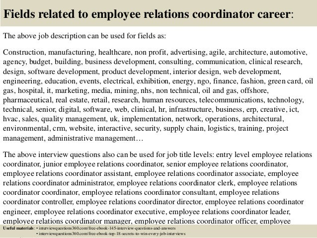Top 10 employee relations coordinator interview questions and answers