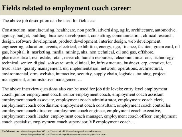 Top 10 employment coach interview questions and answers