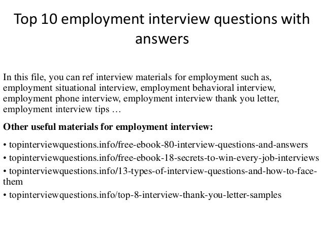Top 10 employment interview questions with answers