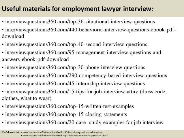 13 useful materials for employment lawyer interview - Lawyer Interview Questions And Answers