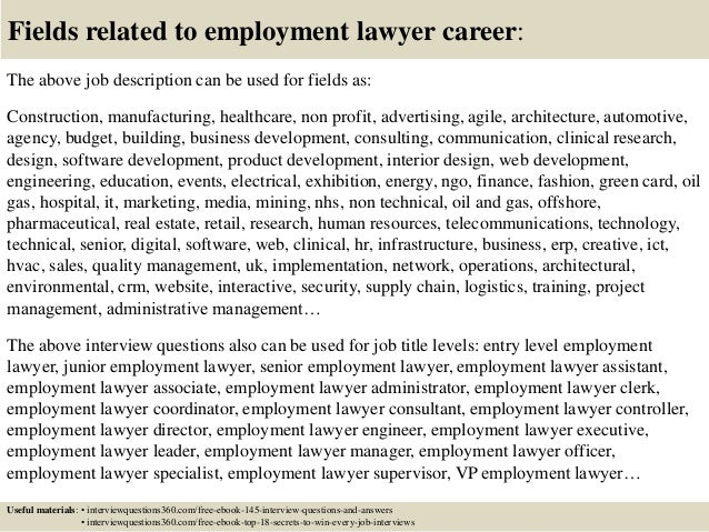 Top 10 employment lawyer interview questions and answers