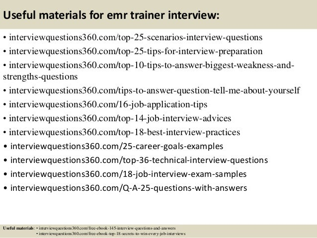 ... 14. Useful Materials For Emr Trainer ...