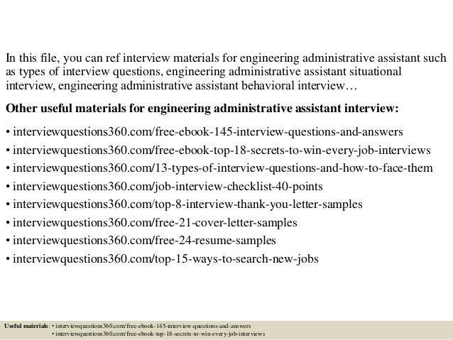 ... 2. In This File, You Can Ref Interview Materials For Engineering Administrative  Assistant ... Intended For Administrative Assistant Interview Questions