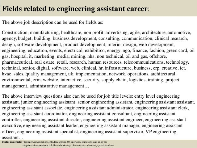 ... 17. Fields Related To Engineering Assistant Career: The Above Job  Description ...