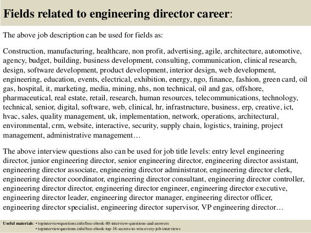 17 fields related to engineering director career the above job description