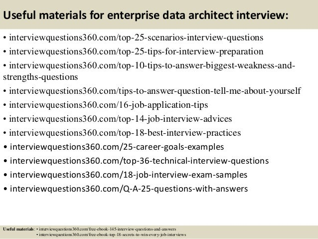 ... 14. Useful Materials For Enterprise Data Architect Interview: ...