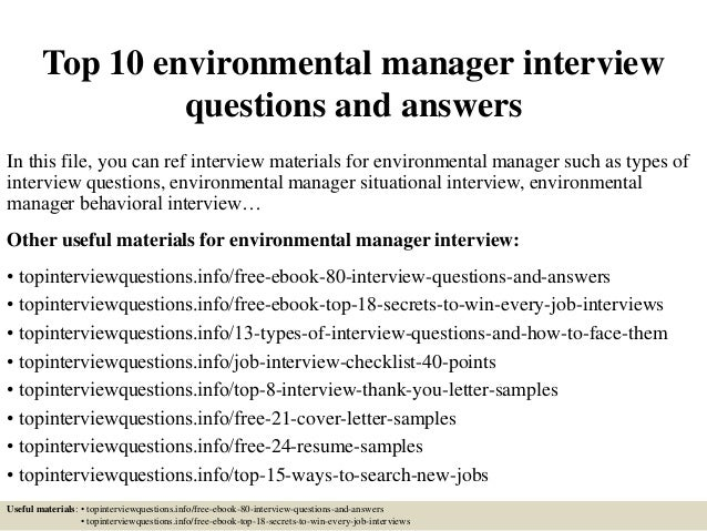 top 10 environmental manager interview questions and answers