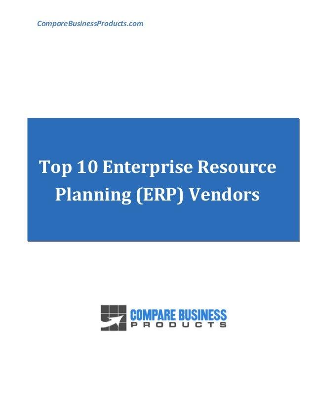 CompareBusinessProducts.com Top 10 Enterprise Resource Planning (ERP) Vendors