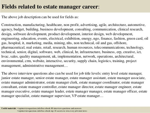 17 fields related to estate manager - Estate Manager Cover Letter