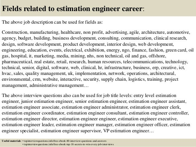 Top 10 Estimation Engineer Interview Questions And Answers
