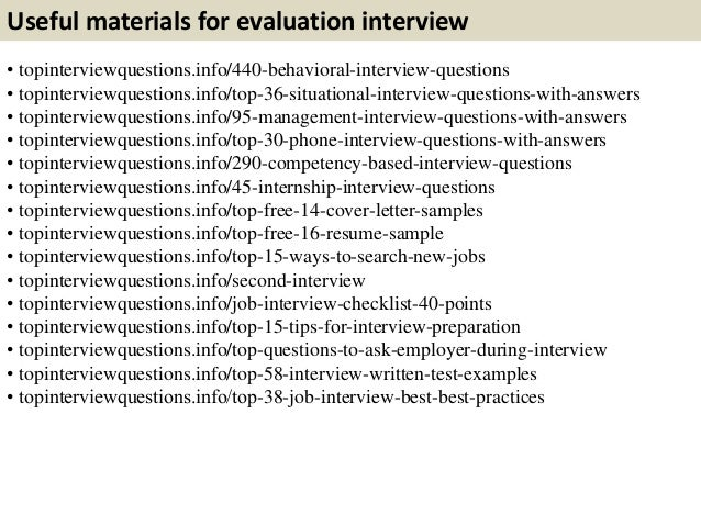 Top  Evaluation Interview Questions With Answers