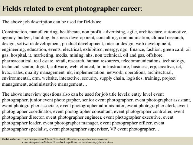 Top 10 event photographer interview questions and answers – Photographer Job Description