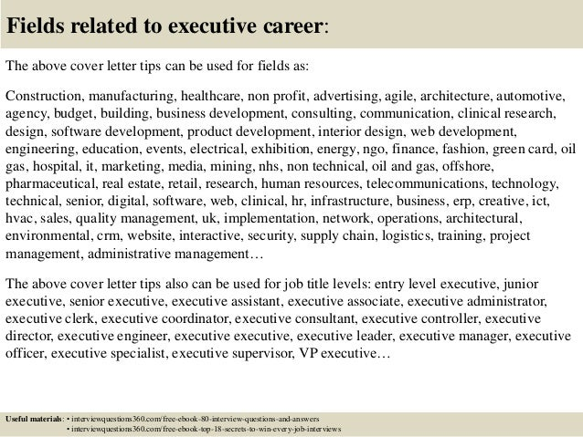 ... 16. Fields Related To Executive Career: The Above Cover Letter ...