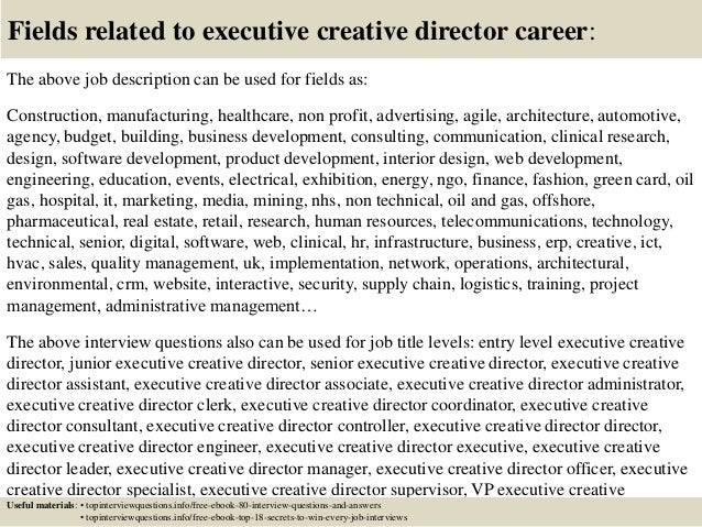 Top  Executive Creative Director Interview Questions And Answers