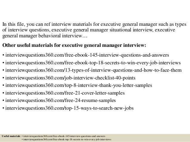 Top 10 executive general manager interview questions and answers fandeluxe PDF