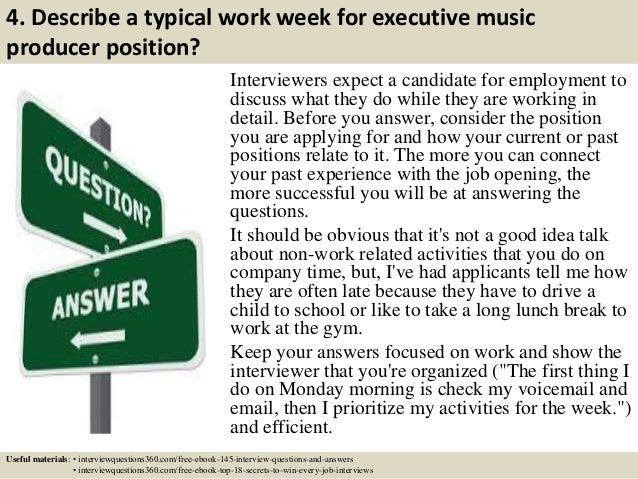 6 4 describe a typical work week for executive music producer - Executive Producer Music
