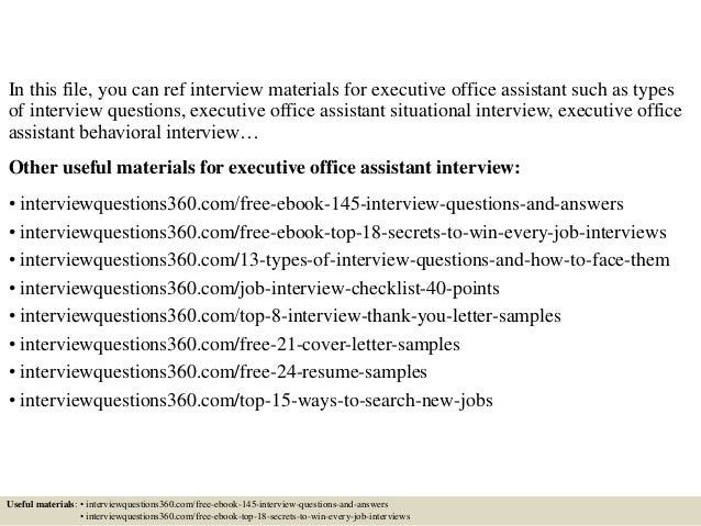 Top 10 executive office assistant interview questions and answers