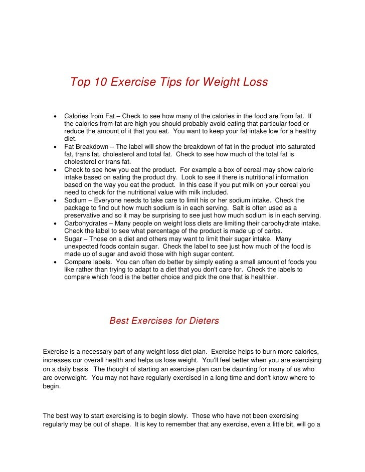 8 Top 10 Exercise Tips For Weight