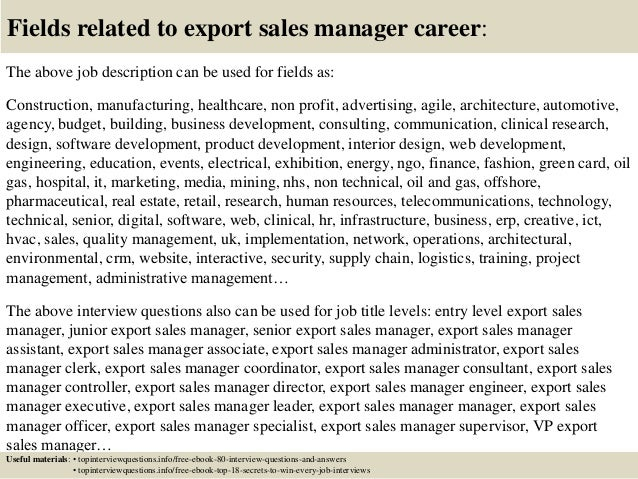 Top 10 export sales manager interview questions and answers