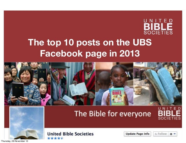 The top 10 posts on the UBS Facebook page in 2013  Thursday, 28 November 13
