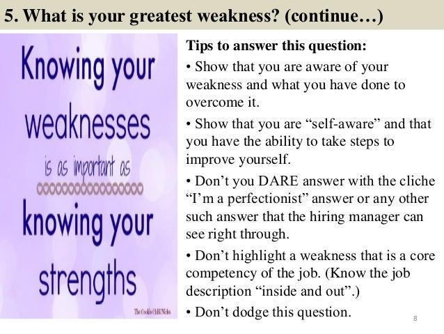 job interview weaknesses examples