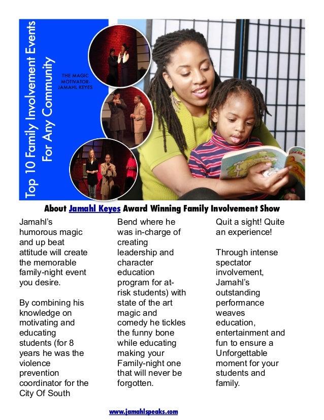 Top 10 Family Involvement Events For Any Community  THE MAGIC MOTIVATORJAMAHL KEYES  About Jamahl Keyes Award Winning Fami...