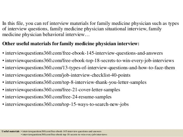 Top 10 family medicine physician interview questions and answers.