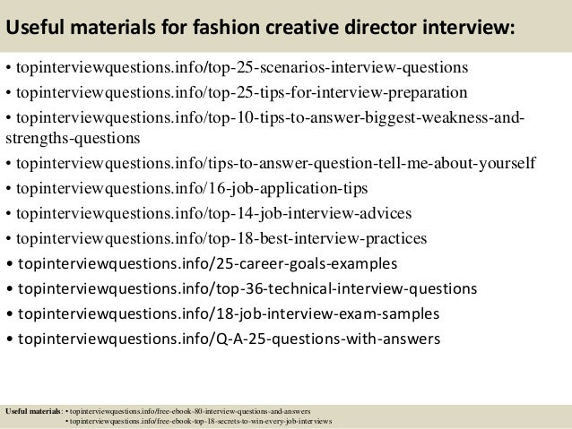 Top  Fashion Creative Director Interview Questions And Answers