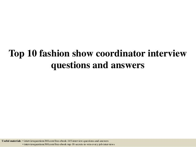 Questions for fashion show contestants 7