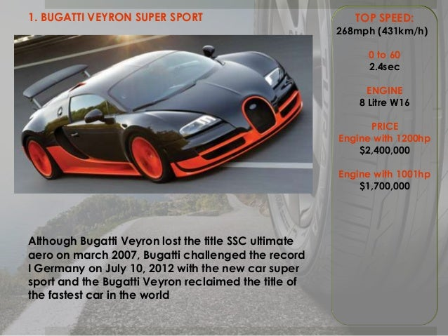 Top 3 fastest car