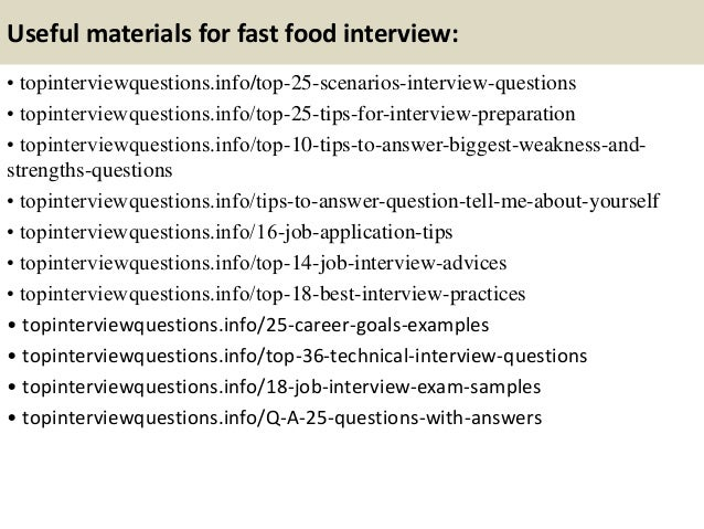 Fast Food Job Interview Questions And Answers